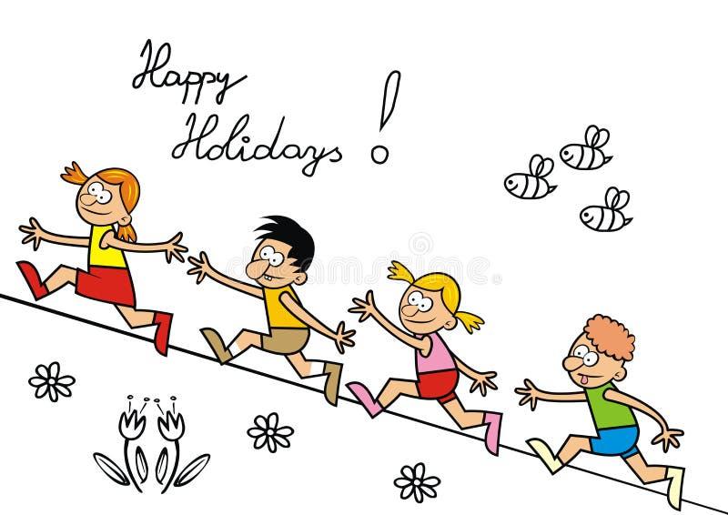 Feste felici, iscrizione, bambini correnti, ENV illustrazione vettoriale