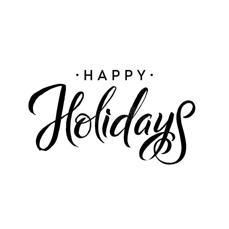 Feste felici Modello di calligrafia di Buon Natale Tipografia della cartolina d'auguri illustrazione vettoriale