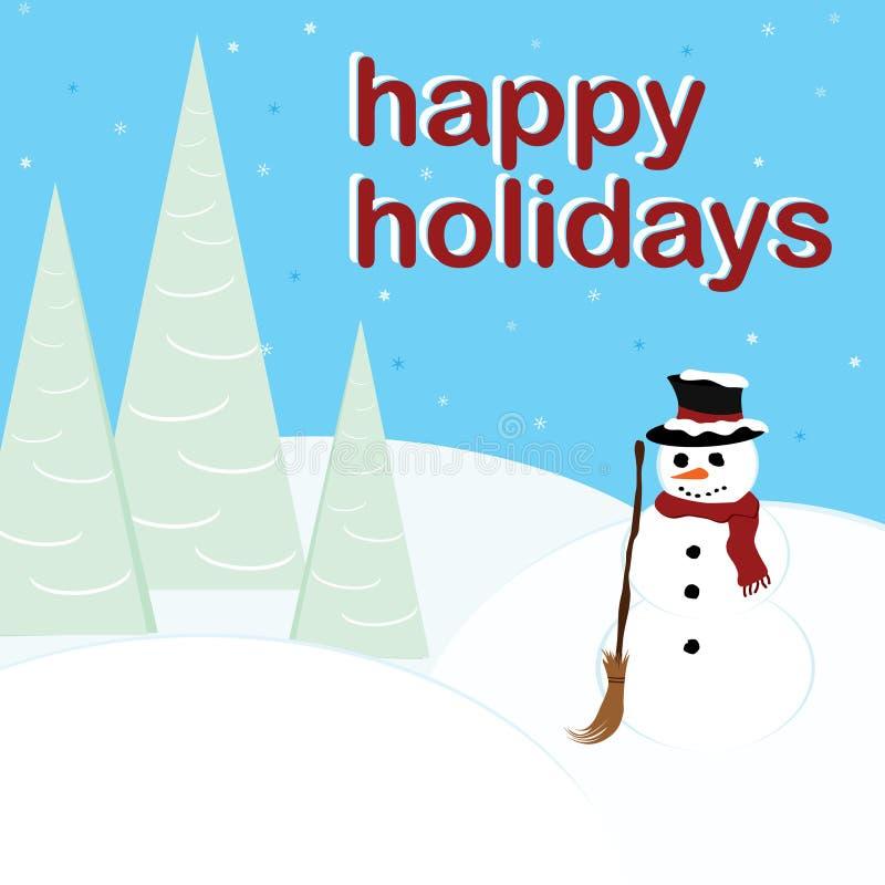 Feste felici - pupazzo di neve royalty illustrazione gratis