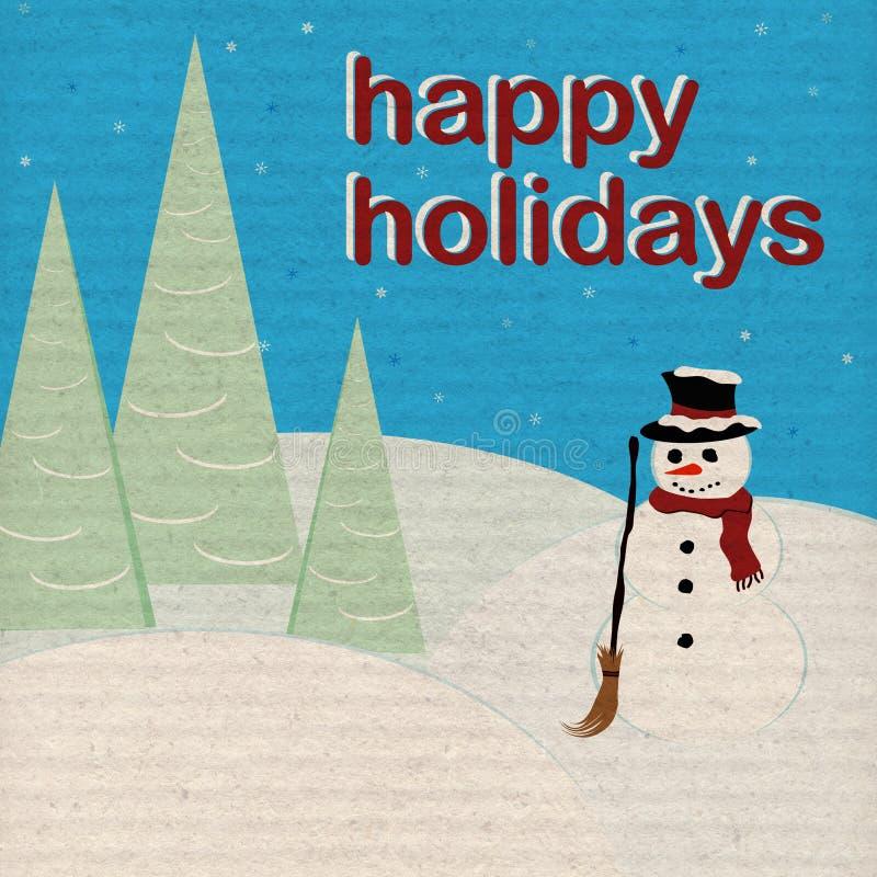Feste felici - pupazzo di neve - documento invecchiato illustrazione vettoriale