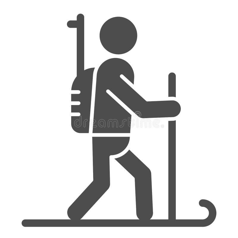 Feste Ikone Biathlete Biathlonvektorillustration lokalisiert auf Wei? Skifahrer Glyph-Artentwurf, bestimmt f?r Netz und App lizenzfreie abbildung