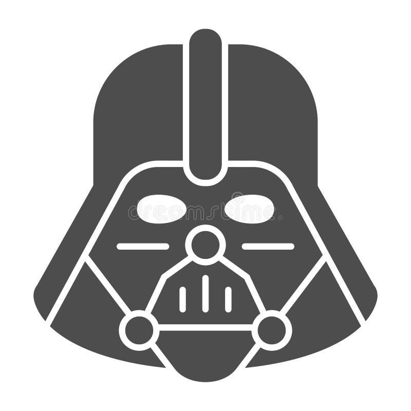 Feste Ikone Darth Vader Star Wars-Vektorillustration lokalisiert auf Weiß Leerzeichen Glyph-Artentwurf, entworfen lizenzfreie abbildung