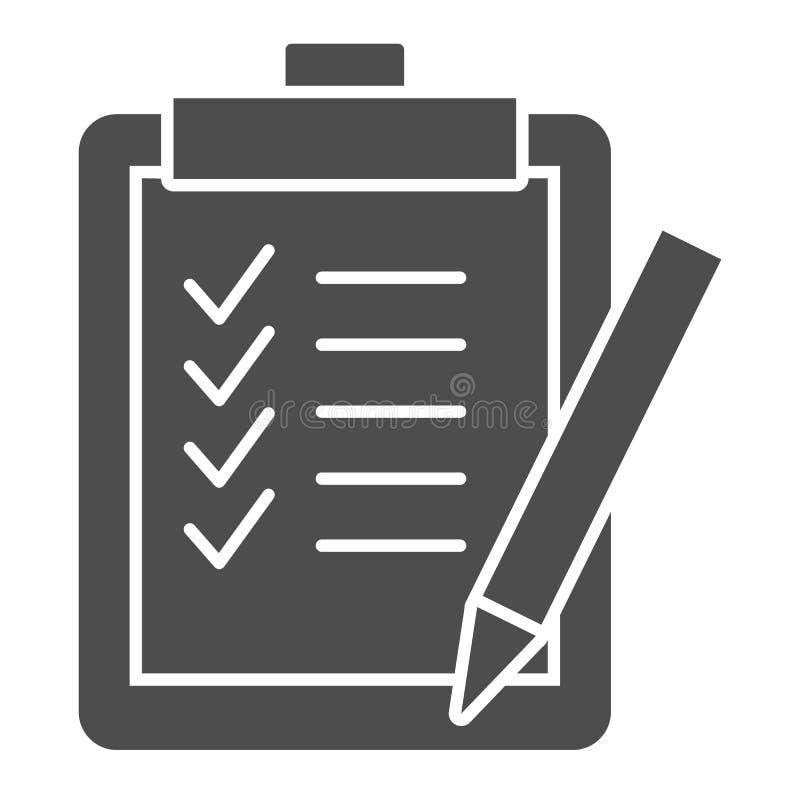 Feste Ikone der Aufgabenliste Klemmbrettvektorillustration lokalisiert auf Weiß Checkliste Glyph-Artentwurf, bestimmt für Netz lizenzfreie abbildung