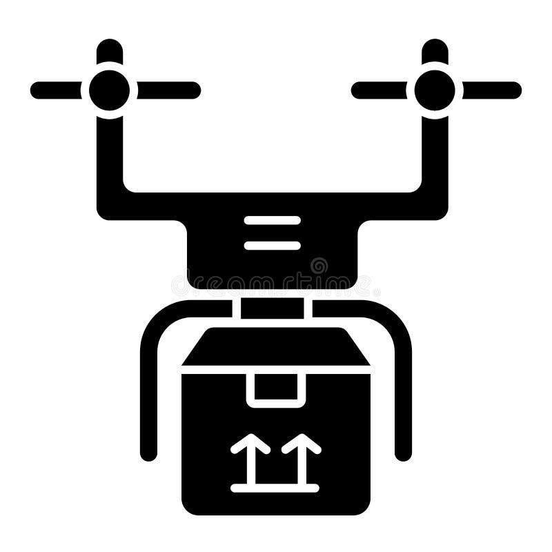 Feste Ikone der Brummenlieferung Hubschrauber mit der Frachtillustration lokalisiert auf Weiß Quadcopter mit Paket Glyph-Artentw vektor abbildung