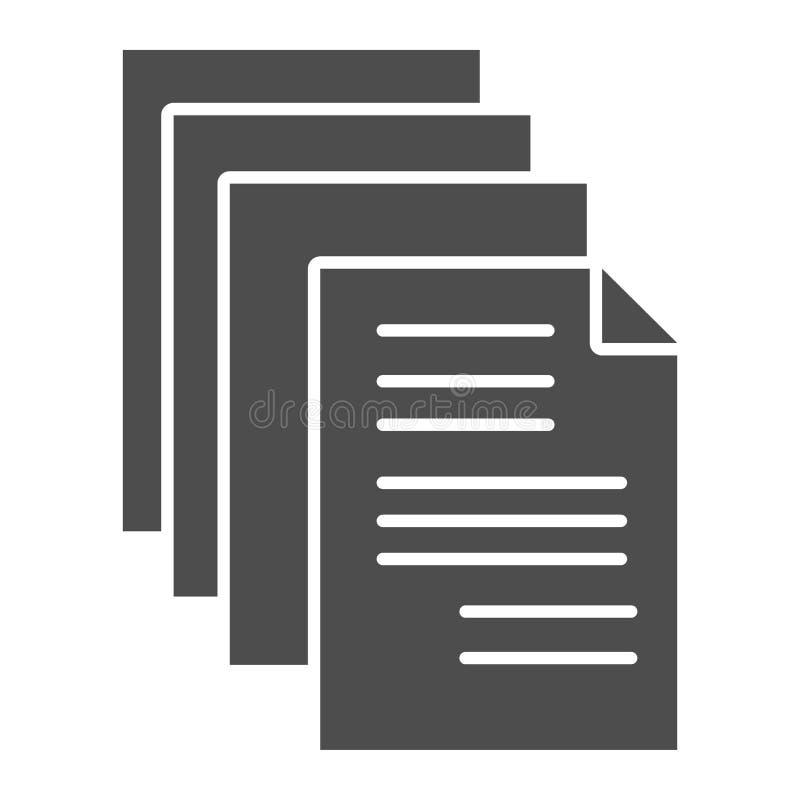 Feste Ikone der Dokumente E Liste Glyph-Artentwurf, bestimmt für Netz und App vektor abbildung