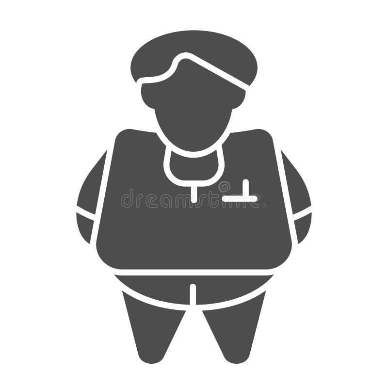Feste Ikone der fetten Person r Glyph-Artentwurf des dicken Mannes, bestimmt für Netz und lizenzfreie abbildung