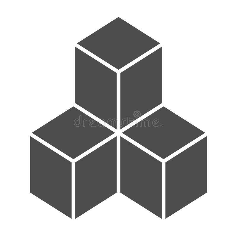 Feste Ikone der geometrischen Würfel Lösungsvektorillustration lokalisiert auf Weiß Blöcke Glyph-Artentwurf, bestimmt für Netz lizenzfreie abbildung
