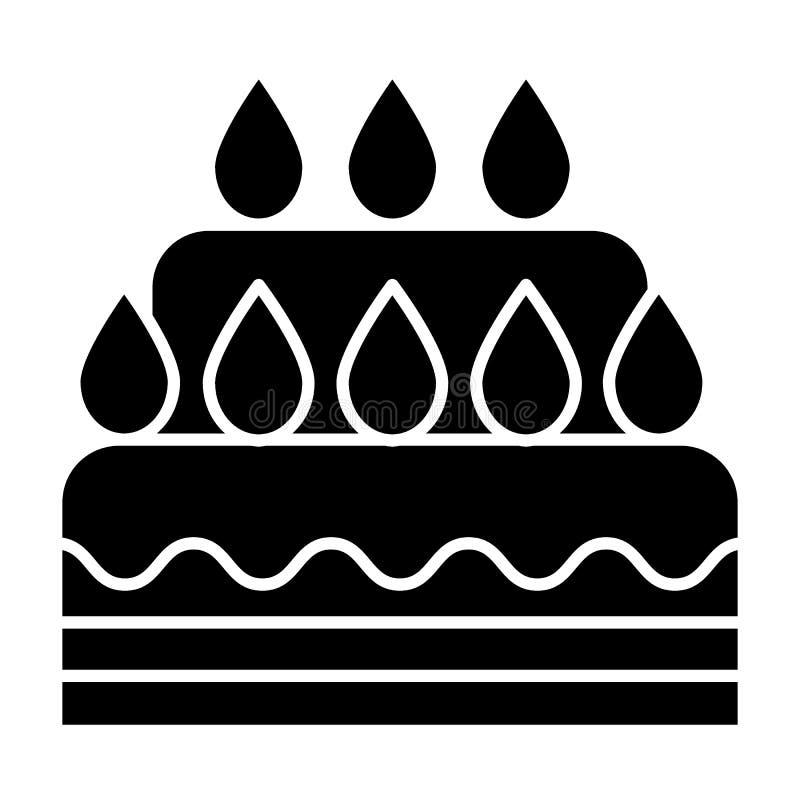 Feste Ikone der Hochzeitstorte Nachtischvektorillustration lokalisiert auf Weiß Süßer Glyphartentwurf, bestimmt für Netz und lizenzfreie abbildung