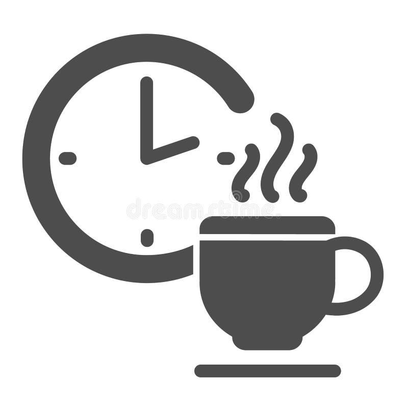 Feste Ikone der Kaffeepause r Zeit für Bruch Glyph-Artentwurf stock abbildung