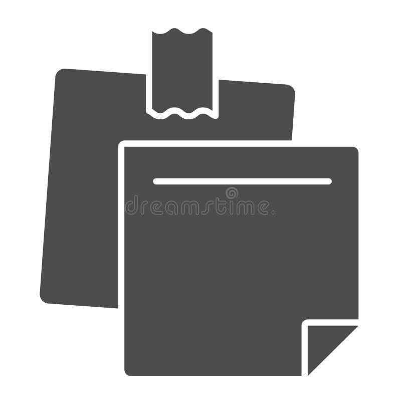 Feste Ikone der klebrigen Anmerkungen Papieraufklebervektorillustration lokalisiert auf Weiß Briefpapier Glyph-Artentwurf, entwor vektor abbildung