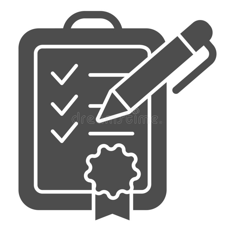 Feste Ikone der Leistungsliste Checklistenvektorillustration lokalisiert auf Wei? Überprüfter Zertifikat Glyph-Artentwurf vektor abbildung