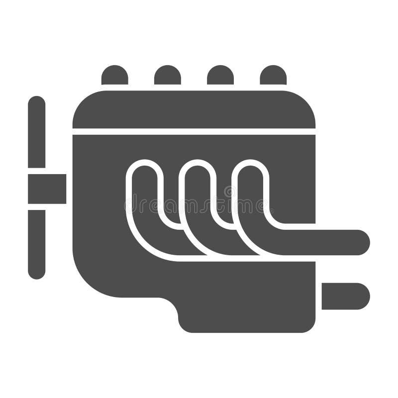 Feste Ikone der Maschine Autobewegungsvektorillustration lokalisiert auf Wei? Autoteil Glyph-Artentwurf, bestimmt f?r Netz und lizenzfreie abbildung