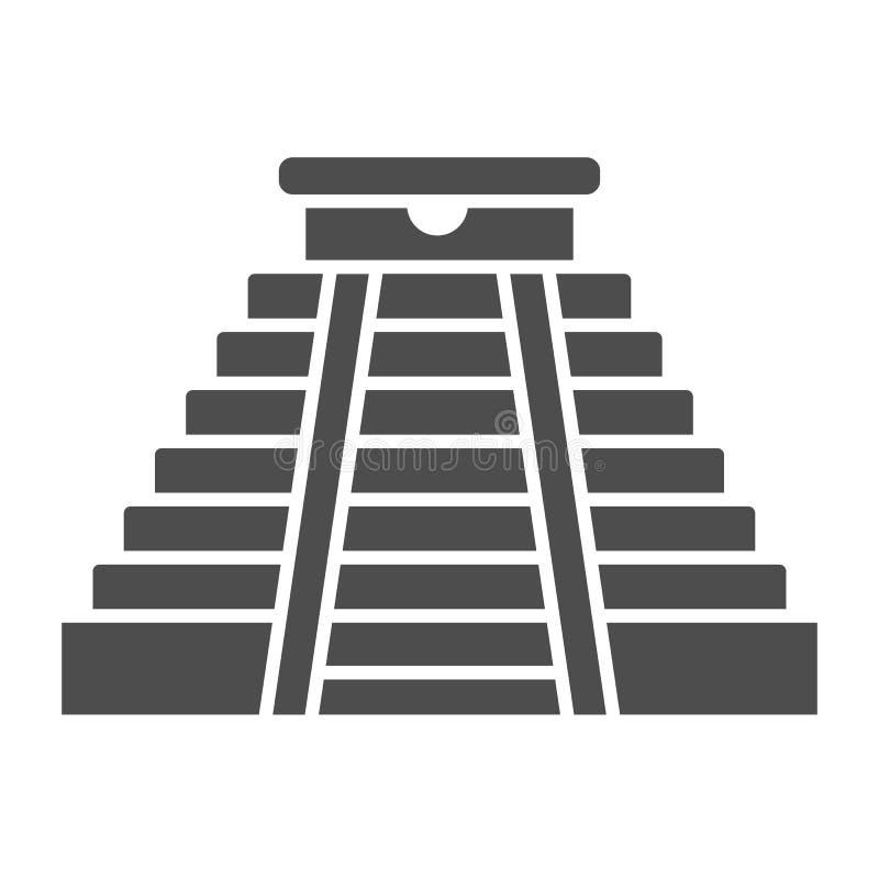 Feste Ikone der Mayapyramide Vektorillustration des alten Tempels lokalisiert auf Weiß Aztekischer Monument Glyph-Artentwurf stock abbildung