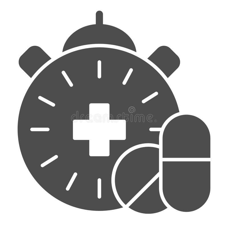 Feste Ikone der Medikationszeit Pillen und Uhrvektorillustration lokalisiert auf Weiß Apothekenzeit Glyph-Artentwurf stock abbildung