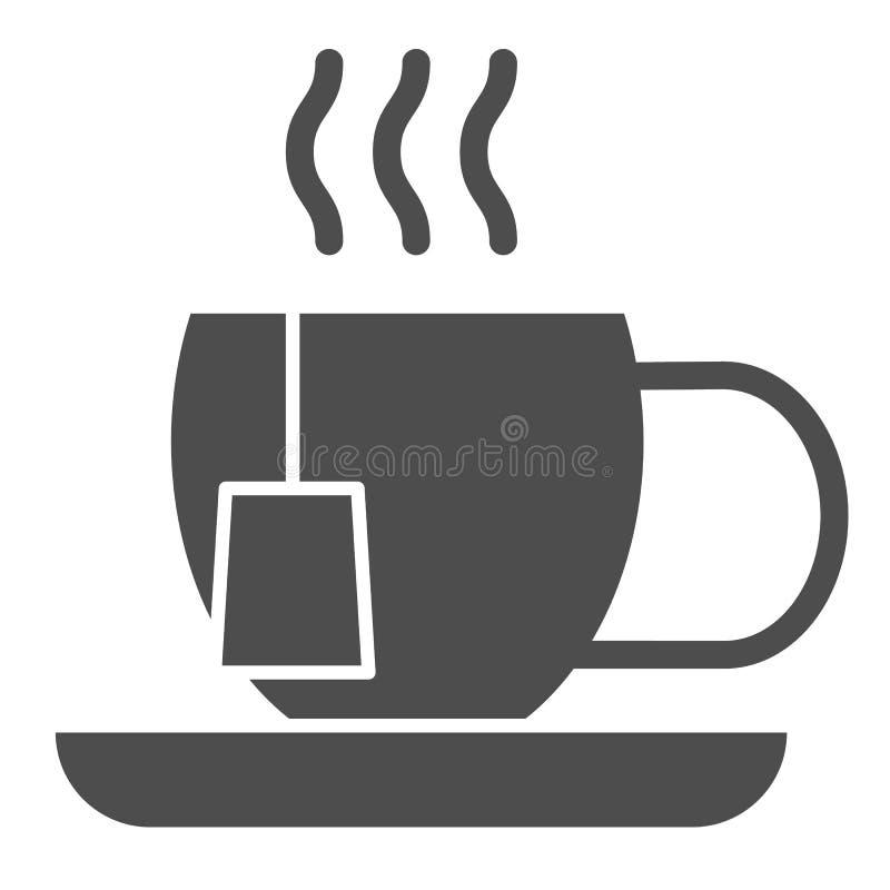 Feste Ikone der Teeschale Becher mit der Teebeutel-Vektorillustration lokalisiert auf Wei? Hei?er Getr?nk Glyph-Artentwurf, entwo vektor abbildung