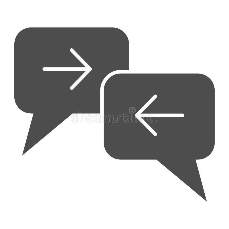 Feste Ikone der Vermittlungsstelle Dialogvektorillustration lokalisiert auf Wei? Kommunikation Glyph-Artentwurf, entworfen stock abbildung
