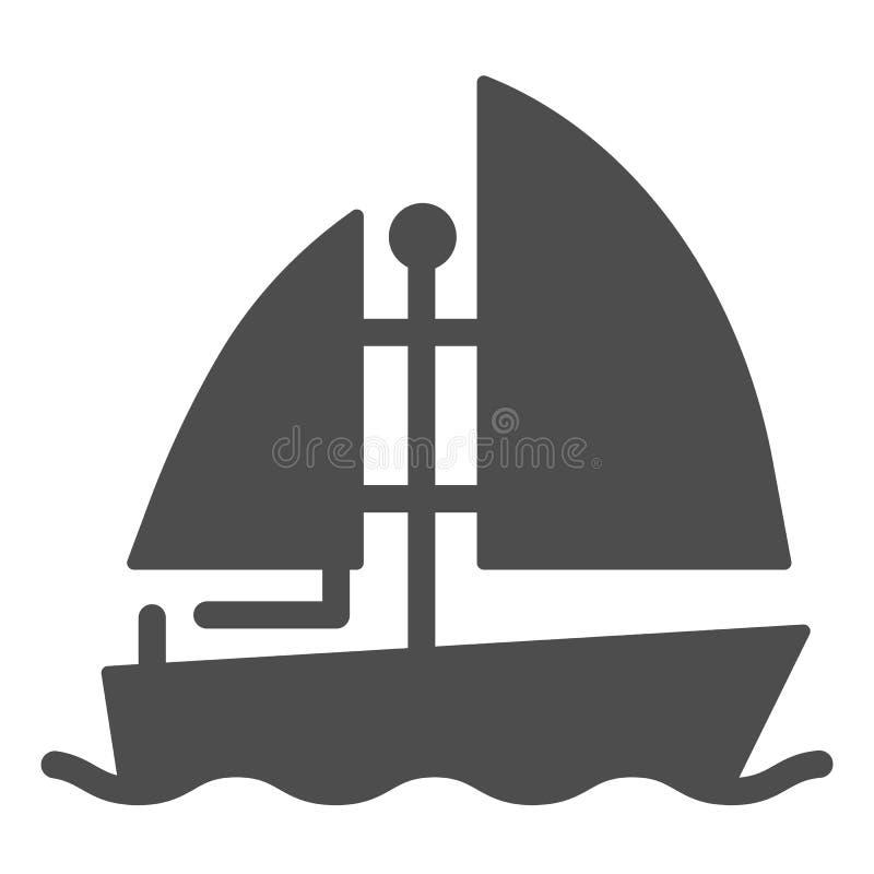 Feste Ikone der Yacht Bootsvektorillustration lokalisiert auf Wei? Schiff Glyph-Artentwurf, bestimmt f?r Netz und App ENV 10 lizenzfreie abbildung