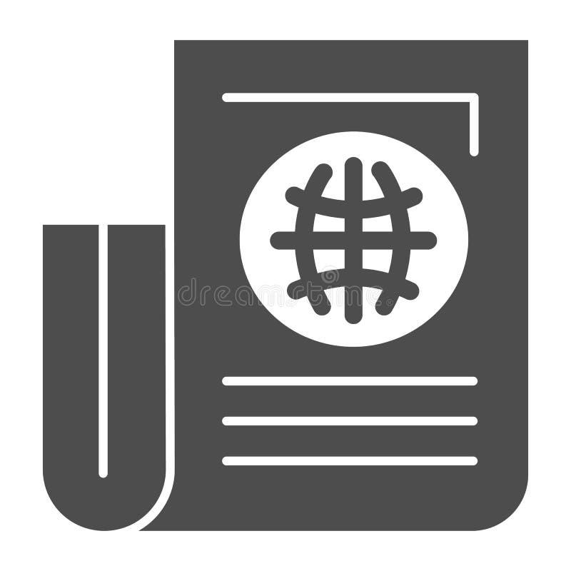 Feste Ikone der Zeitung Papierblatt mit der Artikelvektorillustration lokalisiert auf Weiß Weltzeitung Glyph-Artentwurf stock abbildung