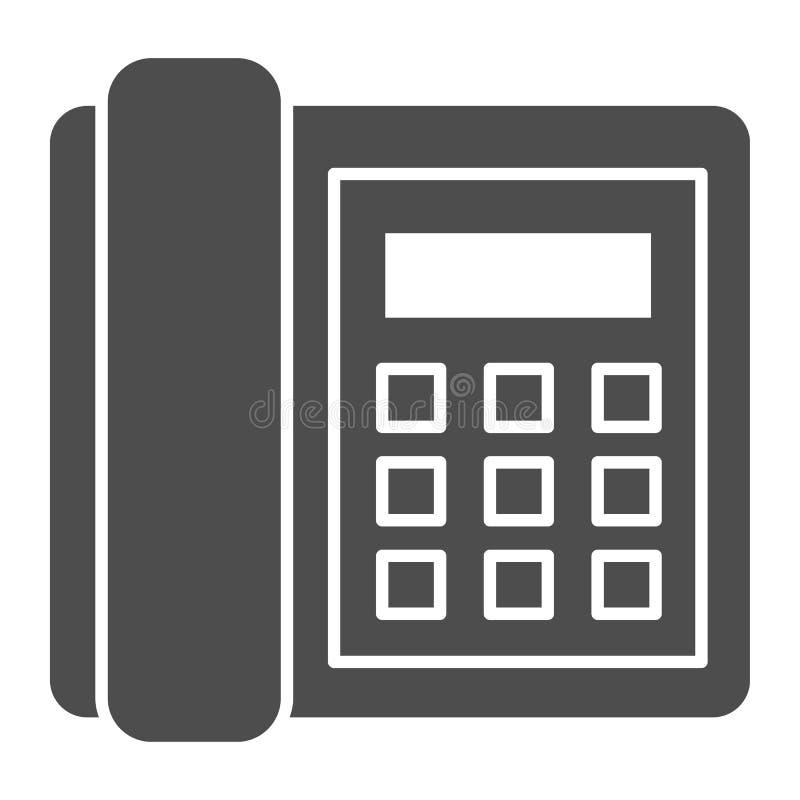 Feste Ikone des Überlandleitungstelefons Anrufvektorillustration lokalisiert auf Weiß Telefon Glyph-Artentwurf, bestimmt für Netz lizenzfreie abbildung