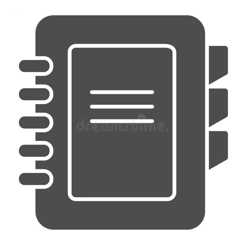 Feste Ikone des Adressbuches Telefonbuch-Vektorillustration lokalisiert auf Wei? Notizblock Glyph-Artentwurf, bestimmt für Netz stock abbildung