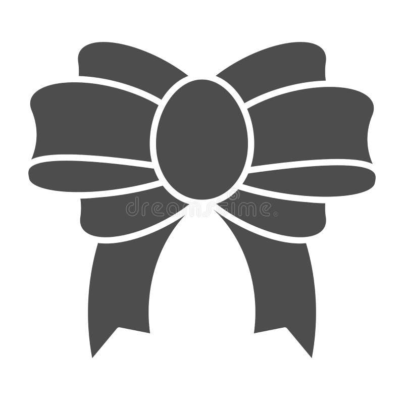 Feste Ikone des anwesenden Bogens Festliche Dekorvektorillustration lokalisiert auf Weiß Netter Knoten Glyph-Artentwurf, entworfe stock abbildung