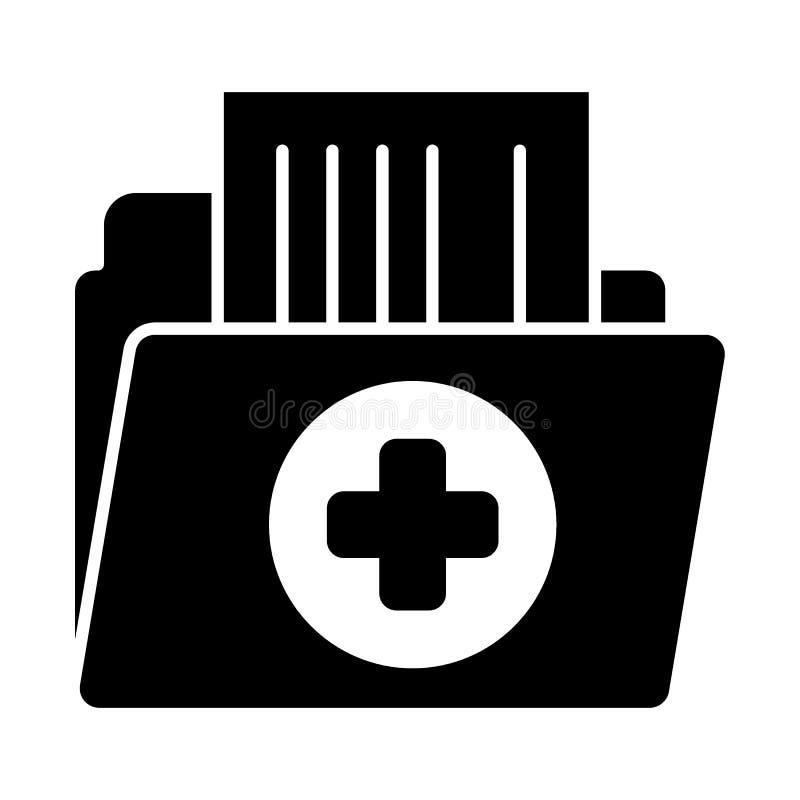 Feste Ikone des Archivberichts Patientenaktevektorillustration lokalisiert auf Weiß Medizinischer Ordner Glyph-Artentwurf lizenzfreie abbildung