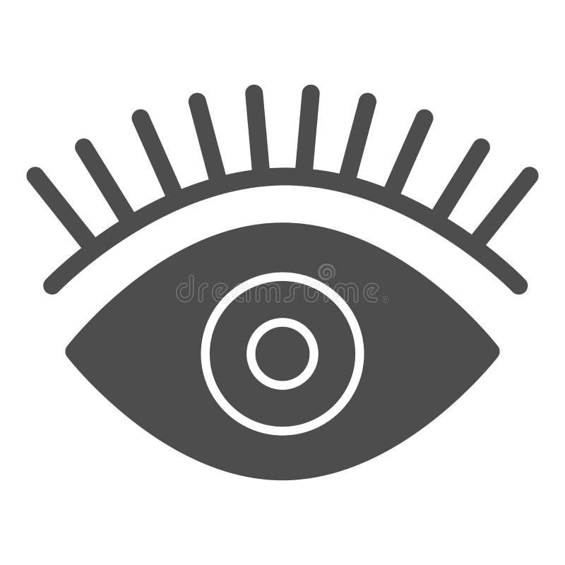 Feste Ikone des Auges Sch?nheitsvektorillustration lokalisiert auf Wei? Wimpern Glyph-Artentwurf, bestimmt für Netz und App stock abbildung
