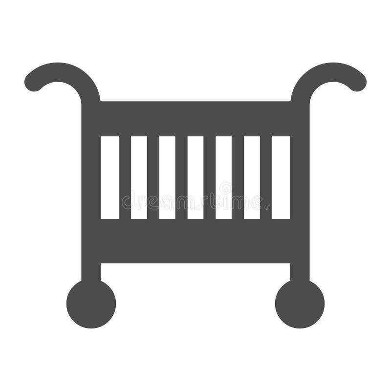 Feste Ikone des Babywiegen-Betts Babykrippen-Vektorillustration lokalisiert auf Weiß Schlaf Glyph-Artentwurf, bestimmt für Netz lizenzfreie abbildung