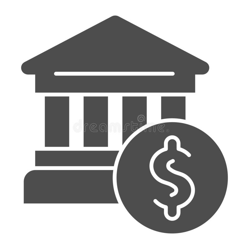 Feste Ikone des Bankgebäudes Bank- und Dollarvektorillustration lokalisiert auf Wei? Architektur Glyph-Artdesign vektor abbildung