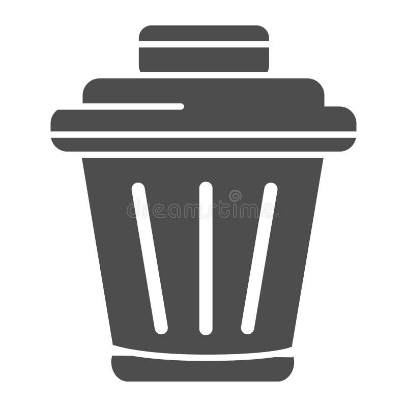 Feste Ikone des Behälters r Abfallkorb Glyph-Artentwurf, bestimmt für Netz und App lizenzfreie abbildung