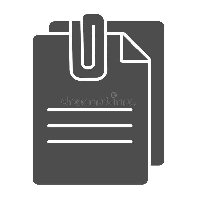 Feste Ikone des beigefügten Dokuments Papiere mit der Clipvektorillustration lokalisiert auf Weiß Blätter Glyph-Artentwurf lizenzfreie abbildung
