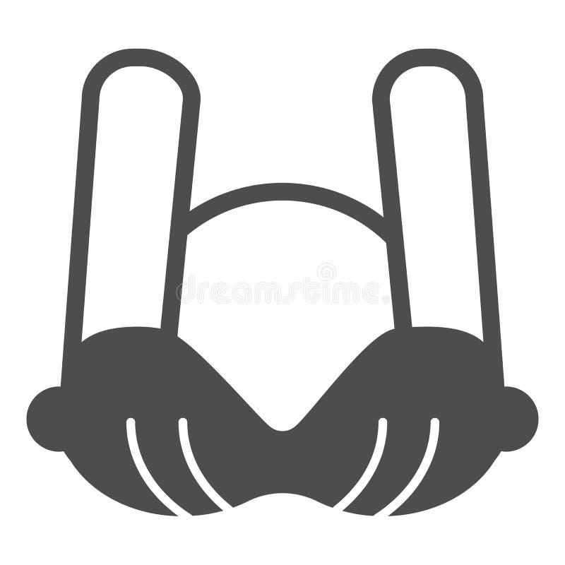 Feste Ikone des BH Frau underware Vektorillustration lokalisiert auf Weiß Büstenhalter Glyph-Artentwurf, bestimmt für Netz lizenzfreie abbildung