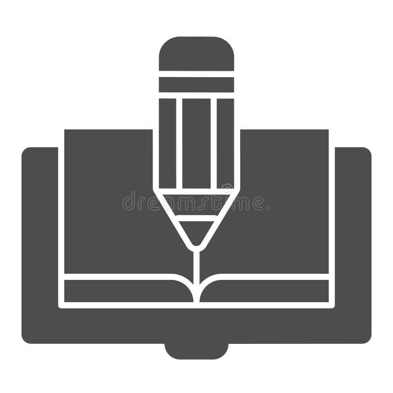 Feste Ikone des Buches und des Bleistifts Buch redigieren die Vektorillustration, die auf Weiß lokalisiert wird Wissen Glyph-Arte stock abbildung