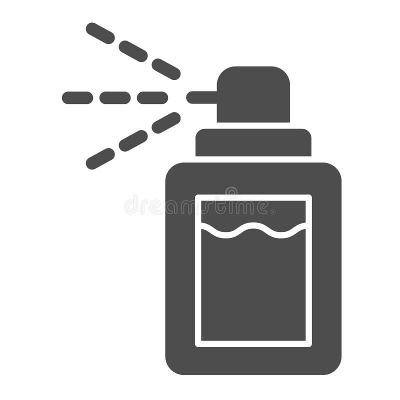 Feste Ikone des desodorierenden Mittels E Aerosol Glyph-Artentwurf, bestimmt f?r Netz und App vektor abbildung
