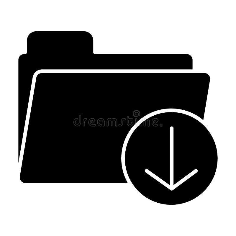 Feste Ikone des Downloadordners Speichervektorillustration lokalisiert auf Weiß Dokument Glyph-Artentwurf, bestimmt für Netz lizenzfreie abbildung