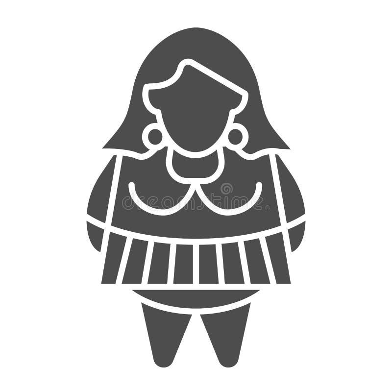 Feste Ikone des fetten Mädchens r Frau plus den Größe Glyph-Artentwurf, entworfen vektor abbildung