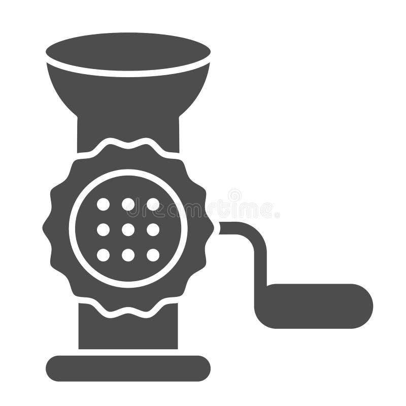 Feste Ikone des Fleischwolfs Handschleifer-Vektorillustration lokalisiert auf Weiß Zerhacker Glyph-Artentwurf, entworfen für vektor abbildung