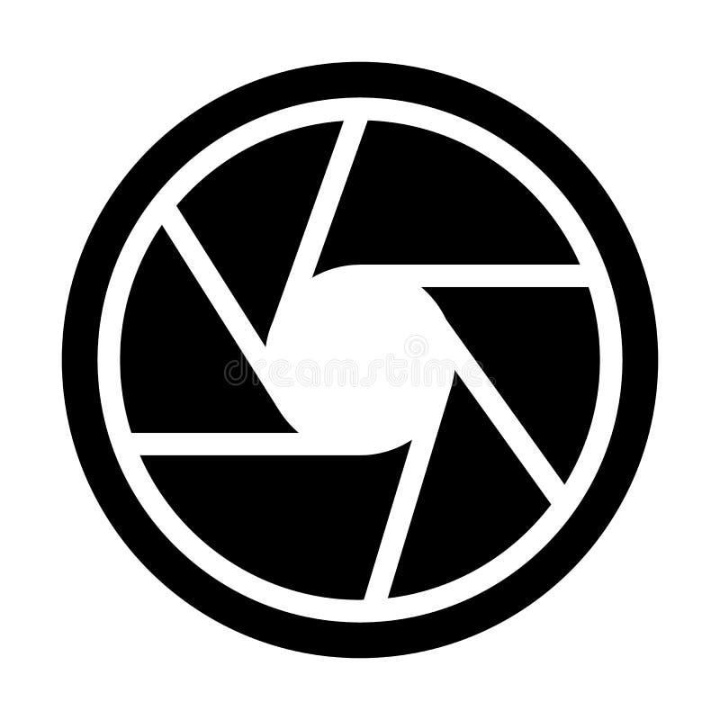 Feste Ikone des Fotoziels Kameraöffnungs-Vektorillustration lokalisiert auf Weiß Objektiv Glyph-Artentwurf lizenzfreie abbildung