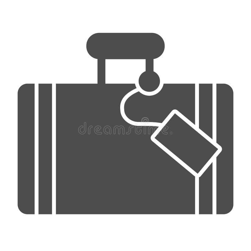 Feste Ikone des Gep?cks Gep?ckvektorillustration lokalisiert auf Wei? Koffer Glyph-Artentwurf, bestimmt f?r Netz und App stock abbildung