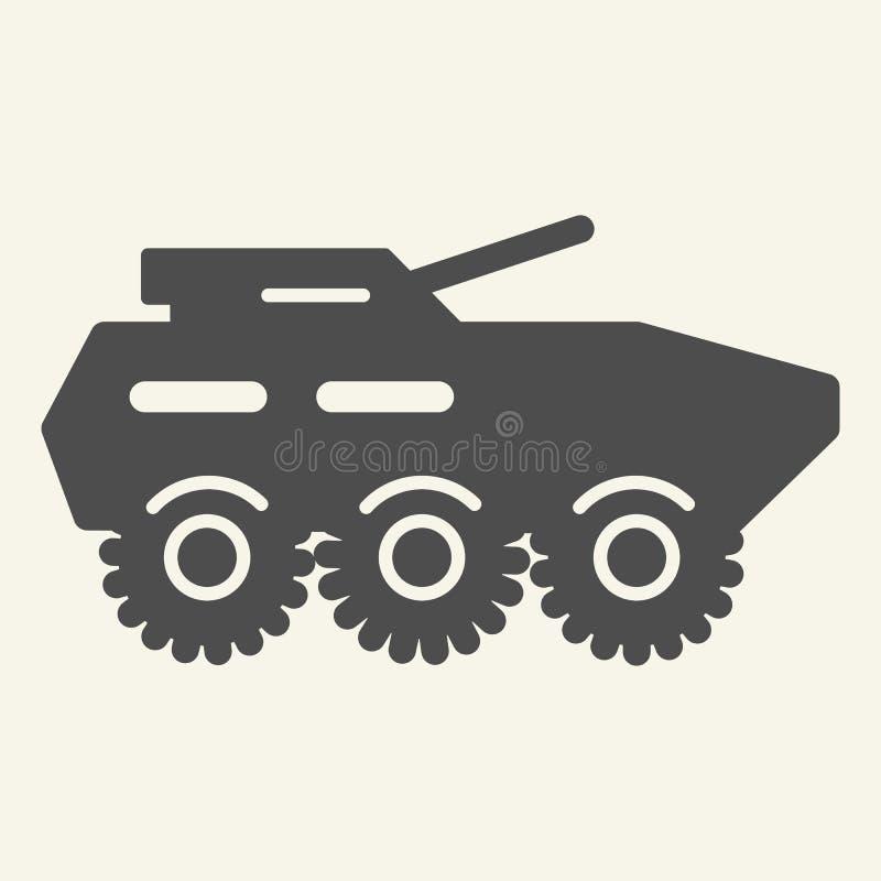 Feste Ikone des gepanzerten Truppentransporters Vektorillustration des gepanzerten Fahrzeugs lokalisiert auf Weiß Artillerie Glyp stock abbildung