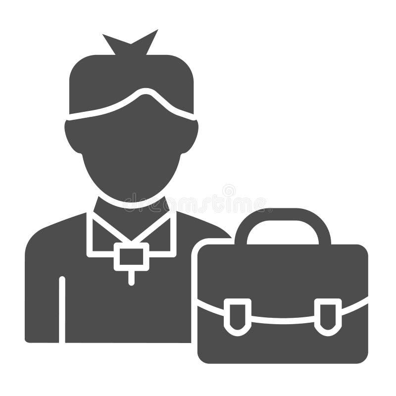 Feste Ikone des Geschäftsmannes Mann mit der Aktenkoffervektorillustration lokalisiert auf Weiß Manager mit Koffer Glyphart stock abbildung