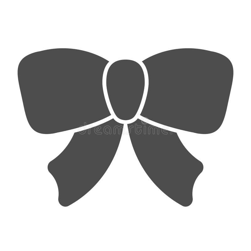 Feste Ikone des Geschenkband-Bogens Dekorationsvektorillustration lokalisiert auf Weiß Anwesender Knoten Glyph-Artentwurf, entwor stock abbildung