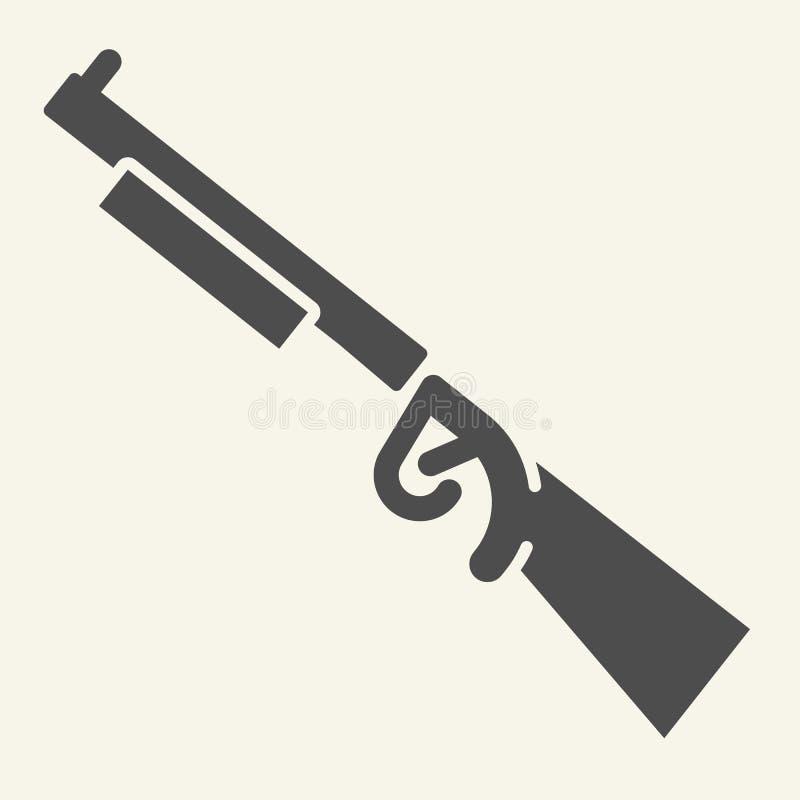 Feste Ikone des Gewehrs Waffenvektorillustration lokalisiert auf Weiß Schrotflinte Glyph-Artentwurf, bestimmt für Netz und App lizenzfreie abbildung
