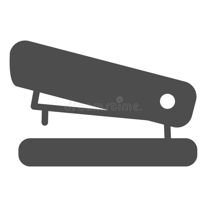 Feste Ikone des Hefters Heftklammervektorillustration lokalisiert auf Weiß Werkzeug Glyph-Artdesign, bestimmt für Netz und APP EN stock abbildung