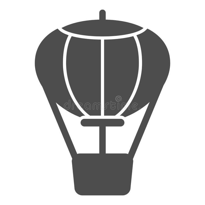 Feste Ikone des Hei?luftballons Lufttransport-Vektorillustration lokalisiert auf Wei? Reise Glyph-Artentwurf, entworfen f?r lizenzfreie abbildung