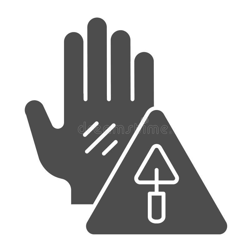 Feste Ikone des im Bau Zeichens Vorsichtbau-Vektorillustration lokalisiert auf Weiß Warnsymbol Glyph vektor abbildung