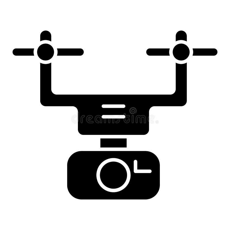 Feste Ikone des Kamerabrummens Hubschrauberillustration lokalisiert auf Weiß Quadcopter-Glyph-Artentwurf, bestimmt für Netz und stock abbildung