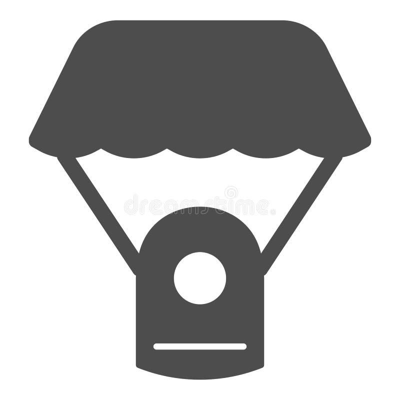 Feste Ikone des Kapselfallschirmes Raumfallschirm-Vektorillustration lokalisiert auf Weiß Die Astrophysik Glyph-Artentwurf lizenzfreie abbildung