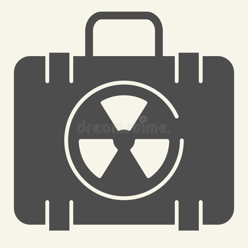 Feste Ikone des Kernfalles Koffer-Vektorillustration der nuklearen Sicherheit lokalisiert auf Weiß Strahlungstasche Glyph-Artentw vektor abbildung