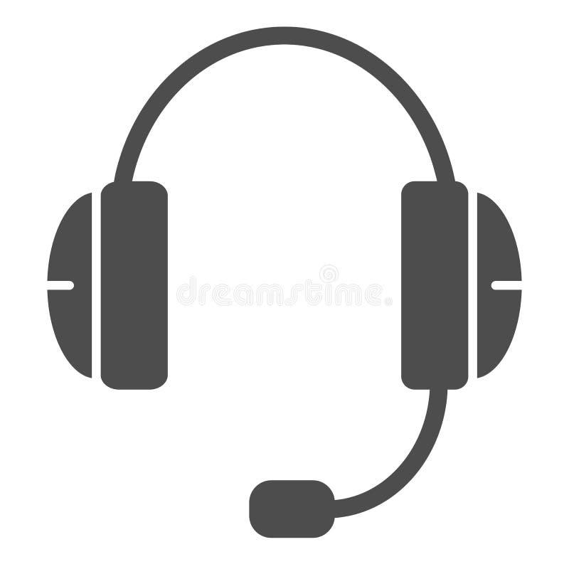 Feste Ikone des Kopfhörers Stützvektorillustration lokalisiert auf Weiß Kopfhörer Glyph-Artentwurf, bestimmt für Netz und lizenzfreie abbildung